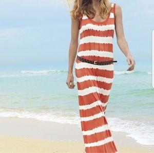 Calvin Klein Orange And White Tie-Dye Maxi Dress S